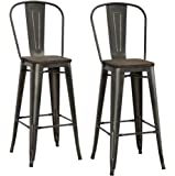 """DHP Luxor Metal Counter Stool with Wood Seat and Backrest, Set of two, 30"""", Antique Copper"""