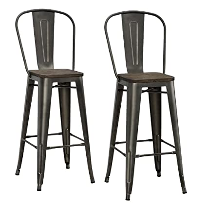 DHP Luxor Metal Counter Stool With Wood Seat And Backrest, Set Of Two,  30u0026quot