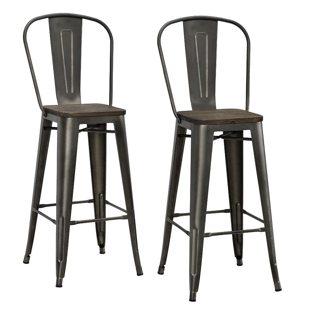 DHP Luxor Metal Counter Stool with Wood Seat and Backrest, Set of two, 30'', Antique Copper