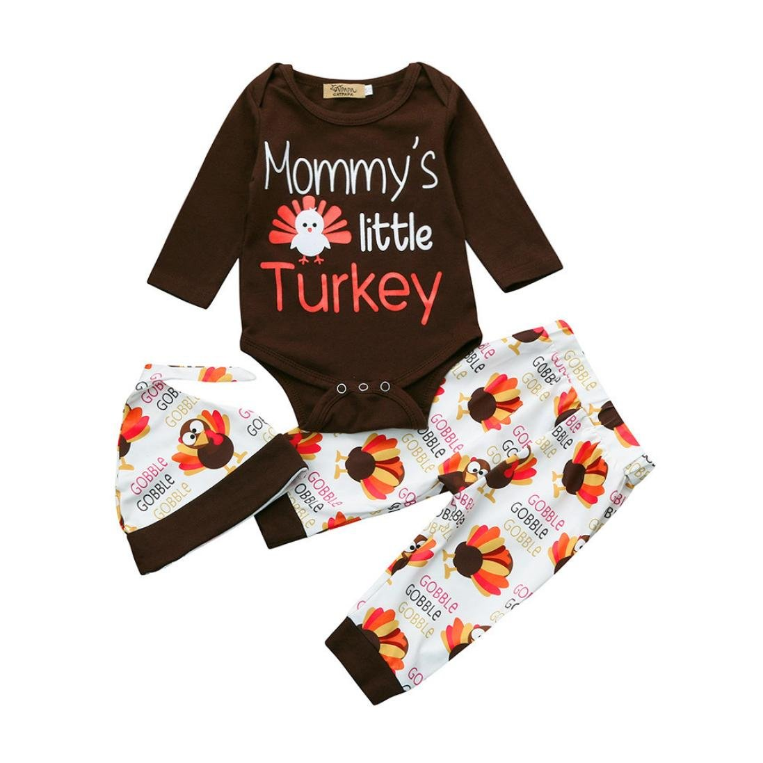 Newborn Infant Thanksgiving Outfits Baby Girl Mommy's Little Turkey Romper+Pant+Hat