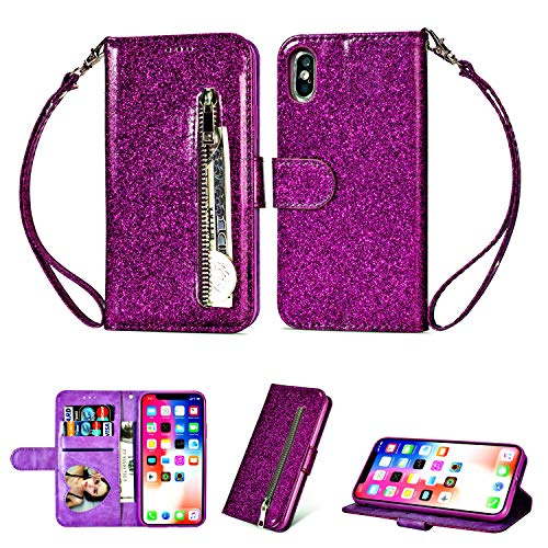 Price comparison product image iPhone Xs 5.8 Inch 2018 Case Wallet, iPhone X 2017, Bling Glitter Zipper Case PU Leather Case Folio Flip Cover Kickstand Magnetic Closure Stand Shiny Cover with Card Holder Cash Pocket and Strap-Purple