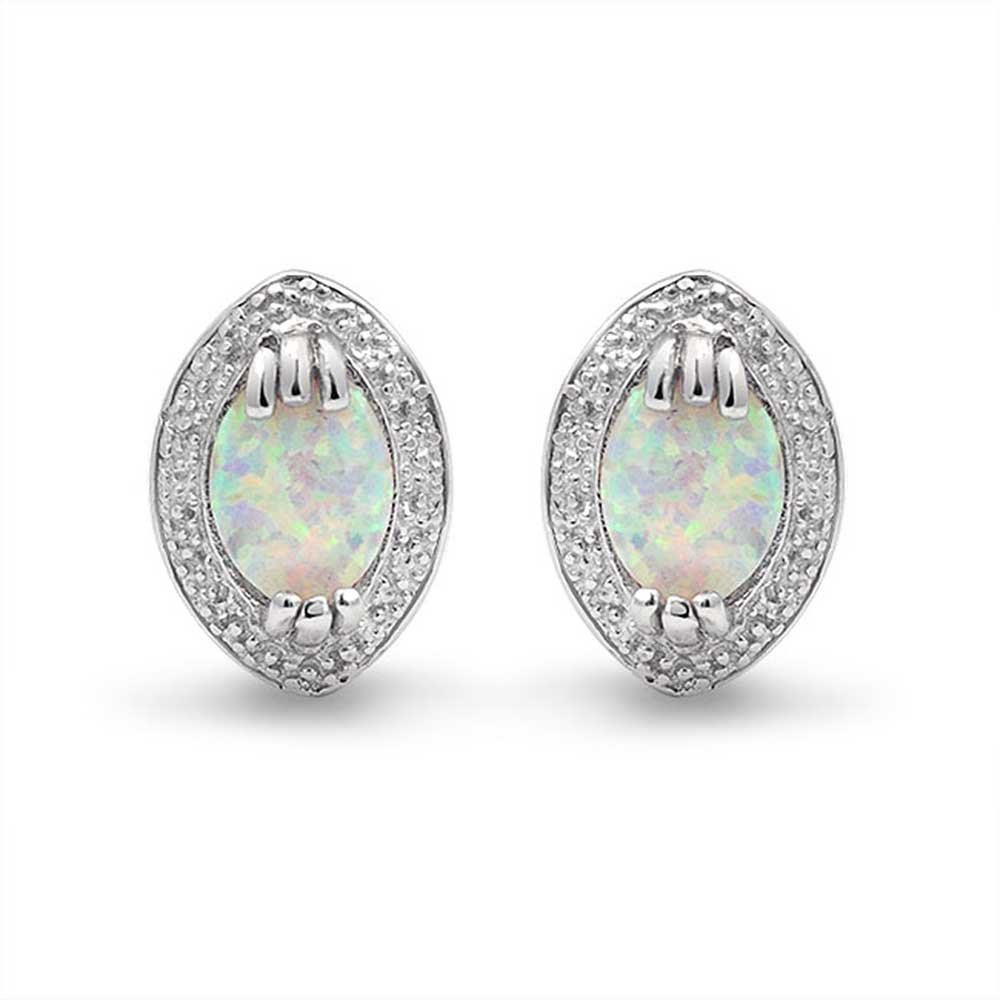 Victorian Style White Oval Created Opal Stud Earrings Cubic Zirconia Halo 925 Sterling Silver October Birthstone