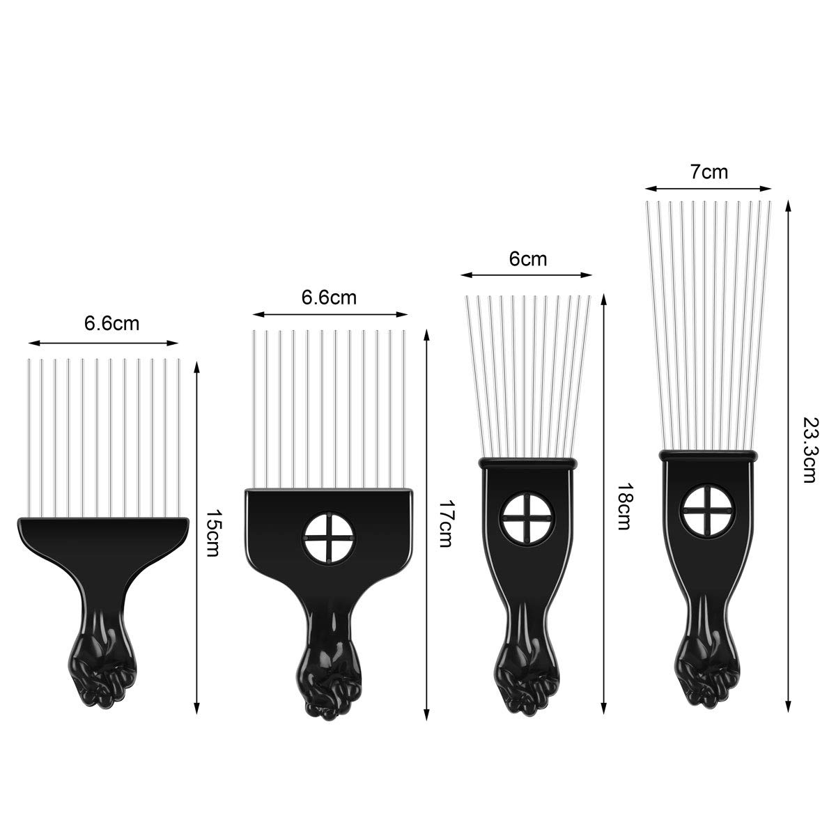 4 peines Afro Pick Pick Pick Peine afroamericano cepillo de pelo metal peines de colorear peluquería herramienta de estilo: Amazon.es: Belleza