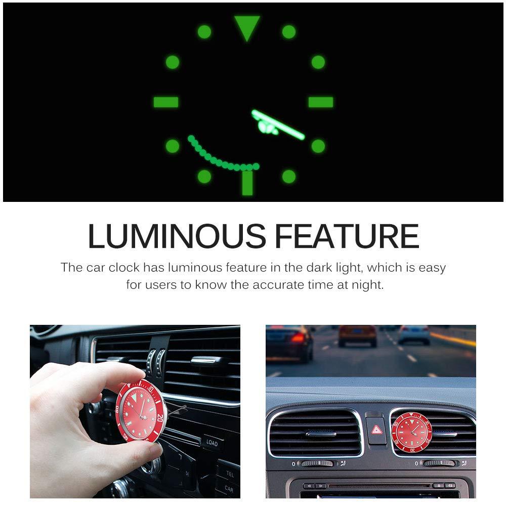 with 3M Sticker Luminous in Night ALLOMN Car Clock 1 PCS, Red 5/×5cm Car Air Vent Clock Automobile Quartz Clock Car Decoration Clock Car Dashboard Clock