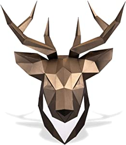 Paperraz Deer Head Paper Trophy Complete Craft Kit DIY 3D Building Puzzle Adults Low Poly Paper Animal Building kit