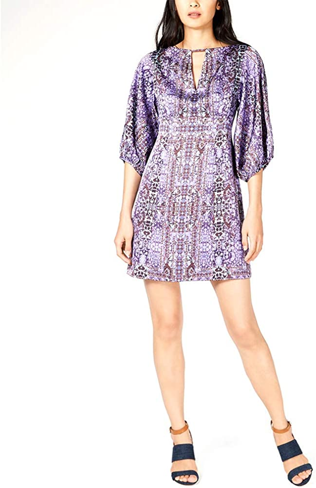 Nanette Lepore Womens Royale Dress Silk Printed Party Dress Purple 6