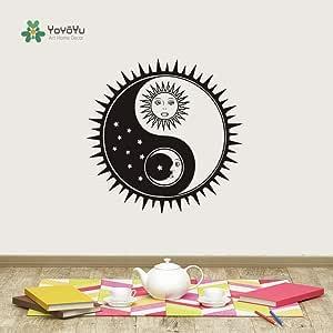 Ajcwhml Tatuajes de Pared Sun Moon Stars patrón de Vinilo Pegatinas de Pared extraíble Estudio de Yoga decoración para el hogar Namaste Yin Yang Dormitorio DIY 72x72cm: Amazon.es: Hogar