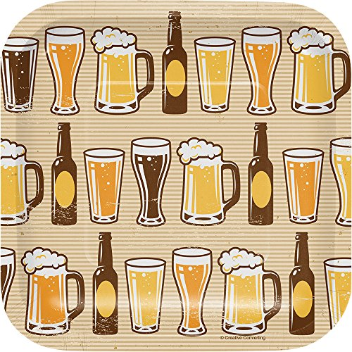 - Creative Converting 322281 96 Count Dessert/Small Square Paper Plates, Cheers and Beers