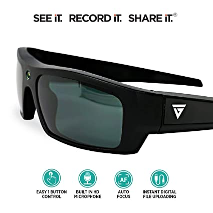 GoVision SOL 1080p HD Camera Glasses Video Recording Sport Sunglasses with Bluetooth Speakers and 15mp Camera - Black