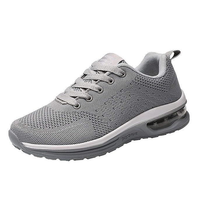ZODOF Zapatos Deportivos Planos Correa para Mujer,Modelos de Pareja Que vuelan los Zapatos de Malla Tejida con Cordones Zapatos Casuales Zapatos Deportivos: ...