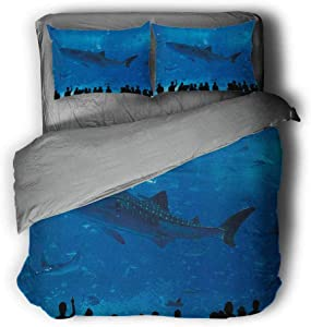 """Miles Ralph Shark King Bed Comforter Japanese Aquarium Park with People Silhouettes Watching Underwater Life Hobby Image Duvet Cover Pillowcase 89""""x89"""" inch Blue Black"""