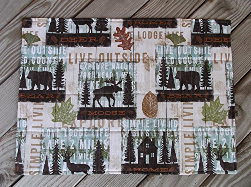 Beige Cabin Life Quilted Fabric Placemats set of 8