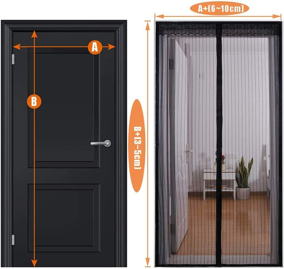 ,Polyester Magic Paste Curtains,Super Quiet Stripes Encryption Soft Door Black 70x200cm//28x79inch 28x79 Magnetic Fly Insect Screen Door,70x200cm