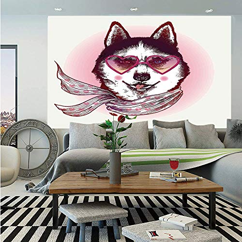 Cartoon Decor Removable Wall Mural,Hipster Husky Dog with Heart Shaped Sunglasses and Scarf Fashion Animal Art Print,Self-Adhesive Large Wallpaper for Home Decor 66x96 inches,Pink Cream Black ()