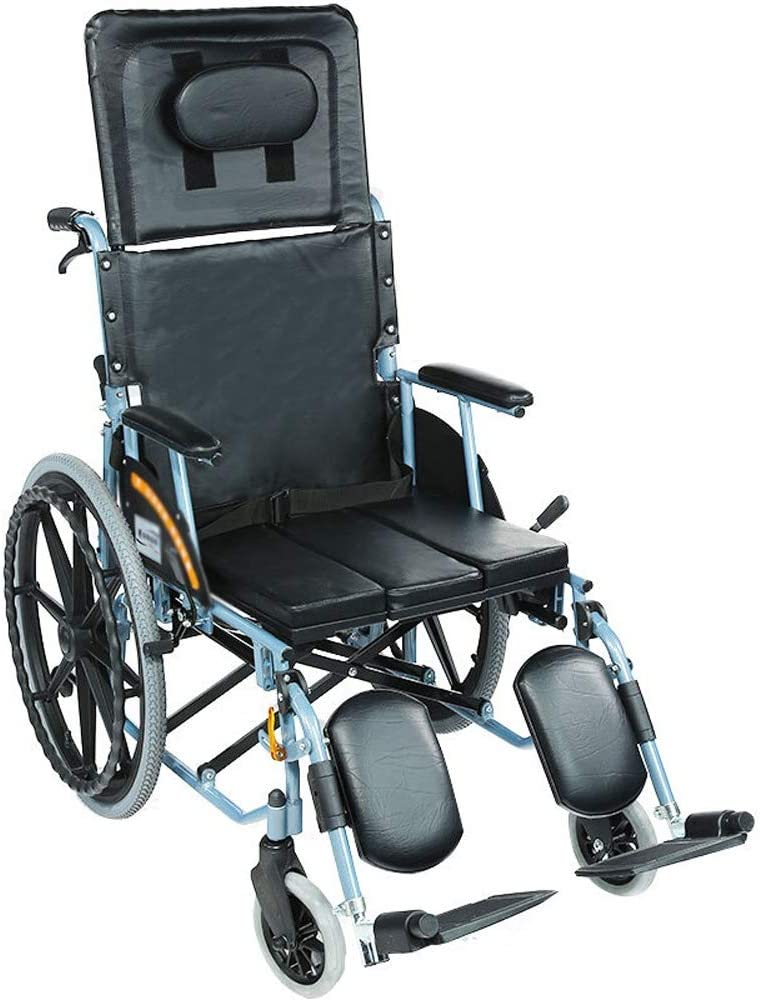 Silla de ruedas, aleación de aluminio, PU cojín del asiento y respaldo alto, con un cómodo respaldo 180 °, totalmente reclinada, extraíble for ir al baño, silla de ruedas, ligero y plegable autopropul