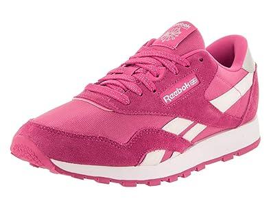 97b09f28d66a0 Reebok Kids Classic Nylon Pink White Casual Shoe 5 Kids US