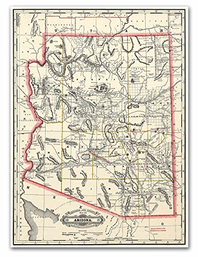 Antiguos Maps - Railroad & County Map of Arizona by George Cram Circa 1887 - Measures 18 in x 24 in (457 mm x 610 mm)