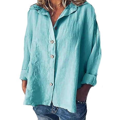 SMILEQ Botón de Mujer Tops de Lino de algodón de Moda sólido Blusa ...
