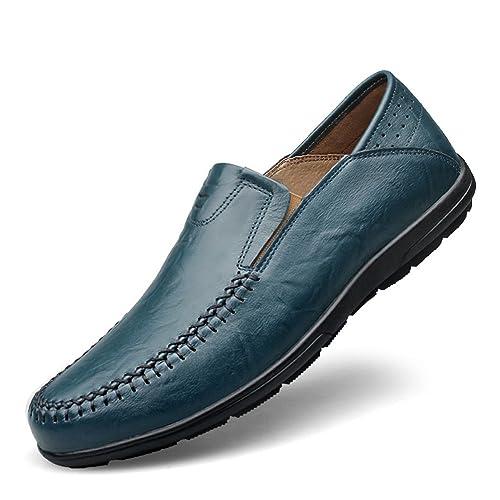Shenn Hombres Plano Ponerse Clásico Casual Boda Cuero Mocasines Zapatos: Amazon.es: Zapatos y complementos