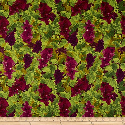 Clothworks Rhone Valley Toss Grapes Wine Fabric by The Yard ()