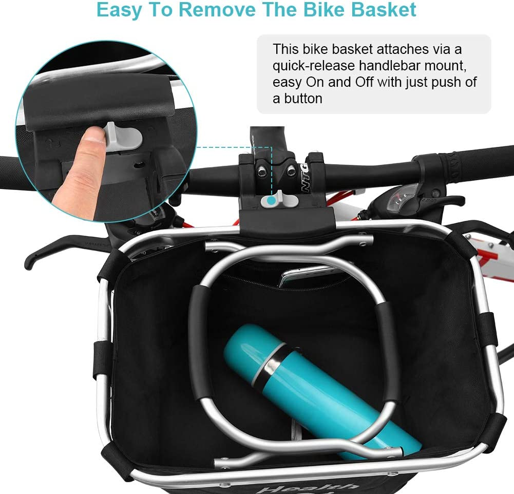 Selighting Bike Basket Grocery Shopping Briefcase Commuter Outdoor Camping WILDKEN Multi-purpose Bicycle Handlebar Bag with Hand Strap Detachable Bike Front Basket for Pet Carrier