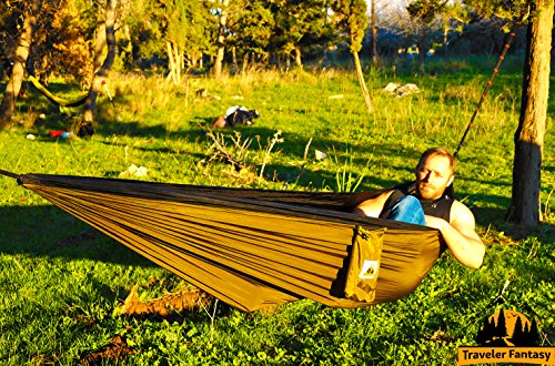 Huge Sale! Ends Soon! The Best All-in-One Camping Hammock Gear by Traveler Fantasy #1 Bag + 2 10' STRAPS + Super Strong Carabiners - Perfect for Backpacking, Camping, Yard, Beach, etc..