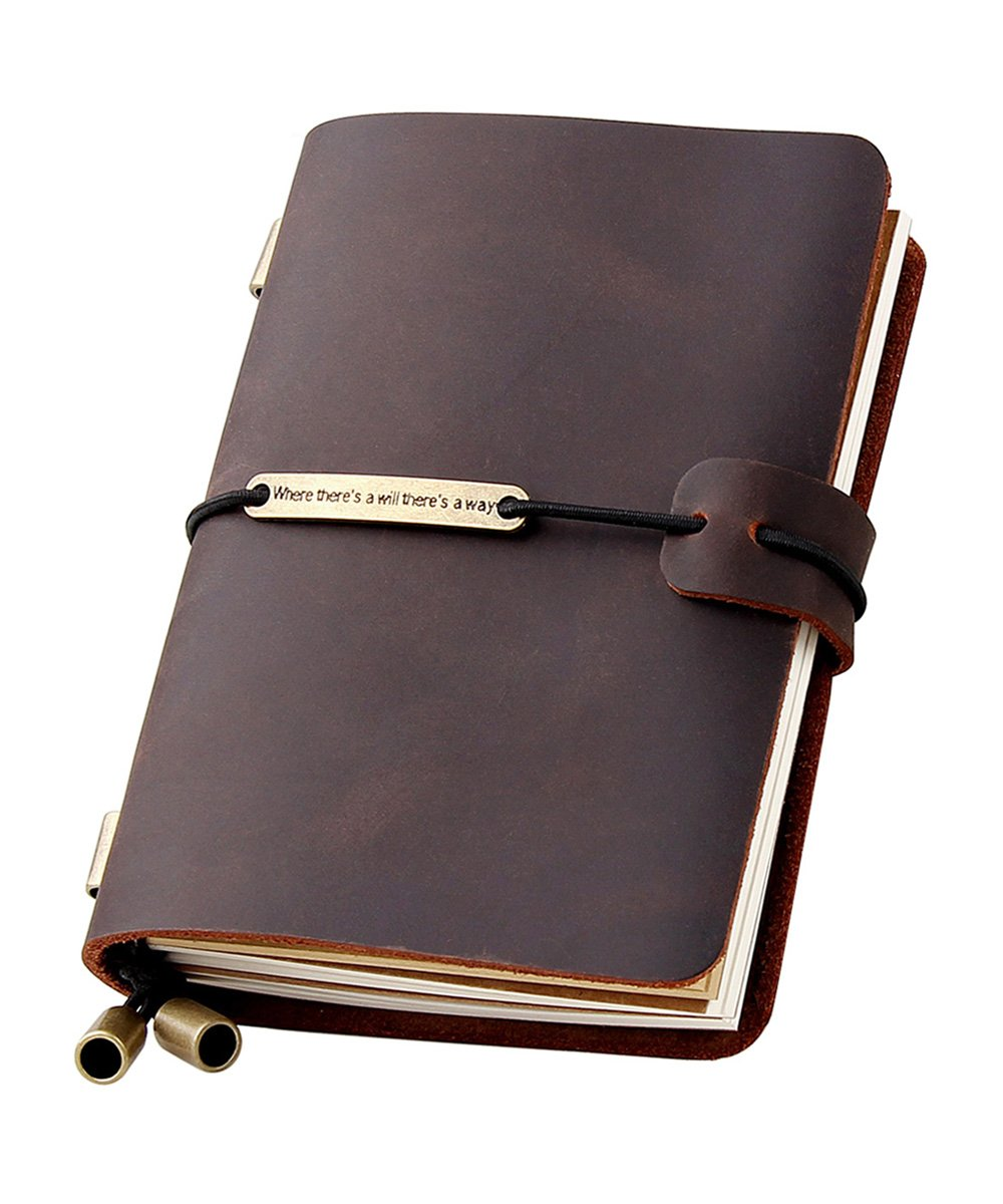 Refillable Handmade Traveler's Notebook, Leather Travel Journal Notebook for Men & Women, Perfect for Writing, Gifts, Travelers, Small Size 5.2'' x 4'' Inches - Coffee