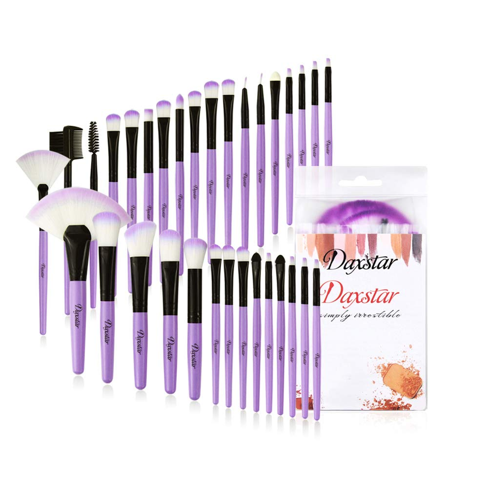 Daxstar Cosmetic Brushes Set Purple, Basic Beginner Makeup Brushes Collection 32 PCs Dense Fan Blending Highlighter Powder Mascara Brush with No-shed Brush Hair