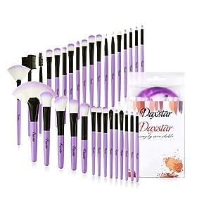 Daxstar Cosmetic Brushes Set Purple, Basic Beginner Makeup Brushes Collection 32 PCs Dense Fan Blending Highlighter Powder Mascara Brush with No-shed Brush Hair