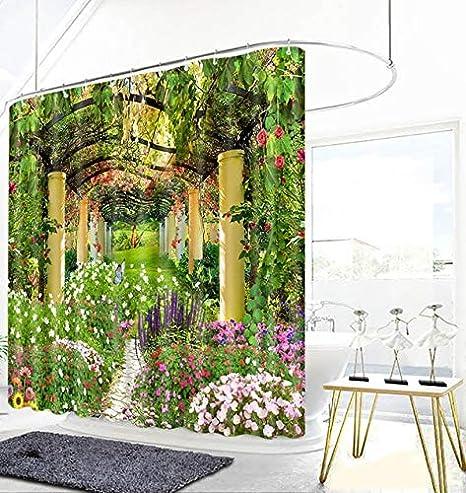 hokkk Cortinas de Ducha de Flores de jardín 3D Belleza Natural Bambú Stream Cortina de baño Espesar Cortina de baño Gruesa Impermeable W165 x H180cm Color C: Amazon.es: Hogar