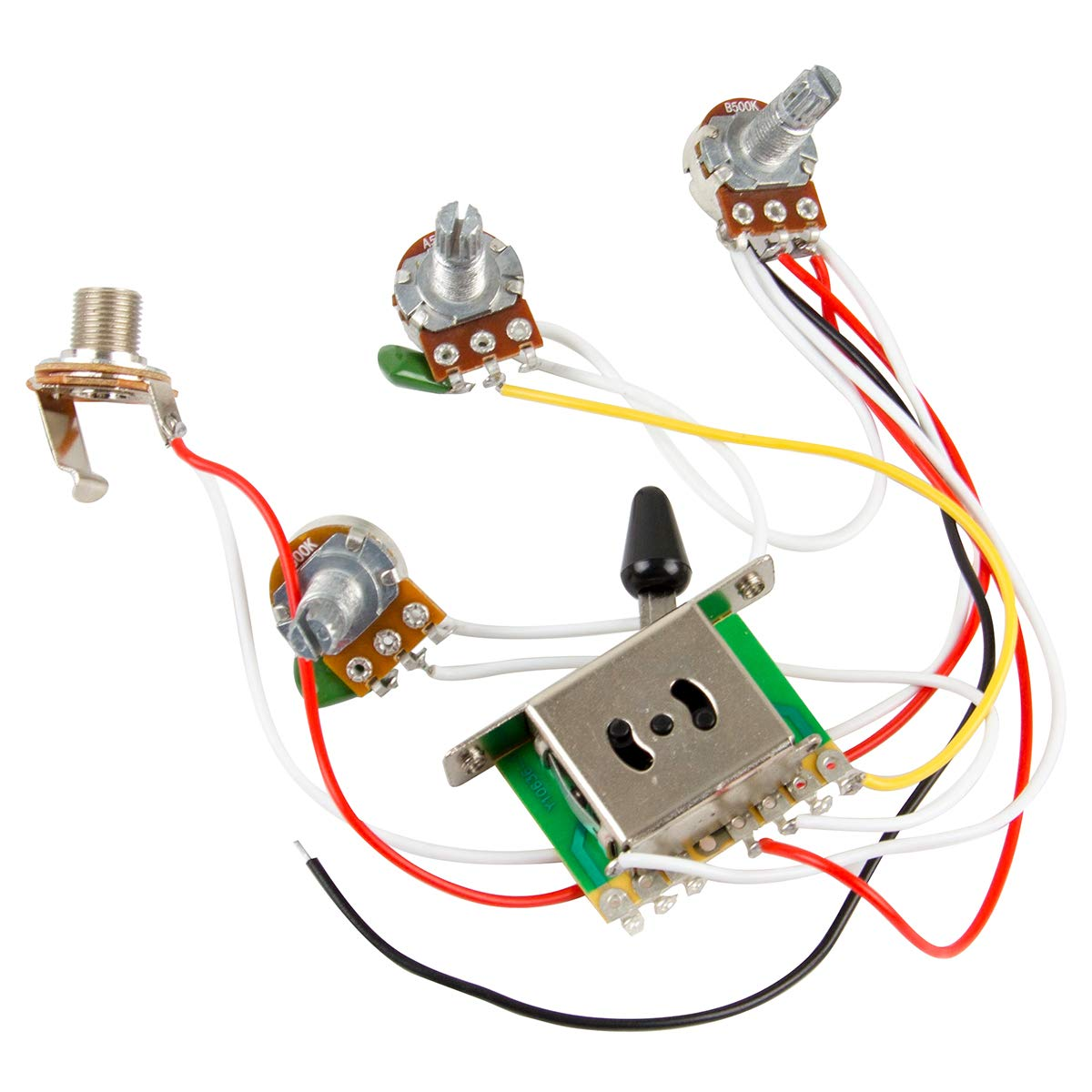New High Quality Kmise® Wiring Harness Prewired/5-way Switch/jack 500k  Pots/for Fender Strat Guitar: Amazon.co.uk: Musical Instruments