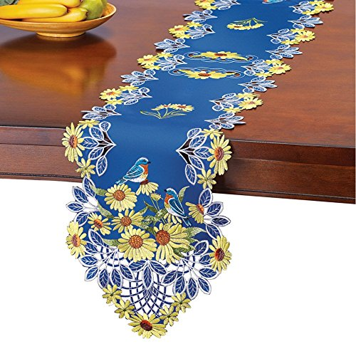 - Collections Etc Embroidered Sunflowers Table Runner/Topper with Blue Birds, Runner