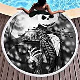 KTLRR Jack Skellington Beach Towels,Nightmare Before Christmas Microfiber Round Beach Towel With Tassels Camping Picnic Blanket Throw Tablecloth,Super Water Absorbent,Black and White (L, 59 inches)