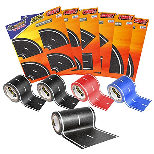 PlayTape Road Rally Road and Curve Assortment for 5-7 Kids - Road Car Tape Great for Kids, Sticker Roll for Cars and Train Sets, Stick to Floors and Walls, Quick Cleanup, Children Toys Birthday Gift by InRoad Toys (Image #5)