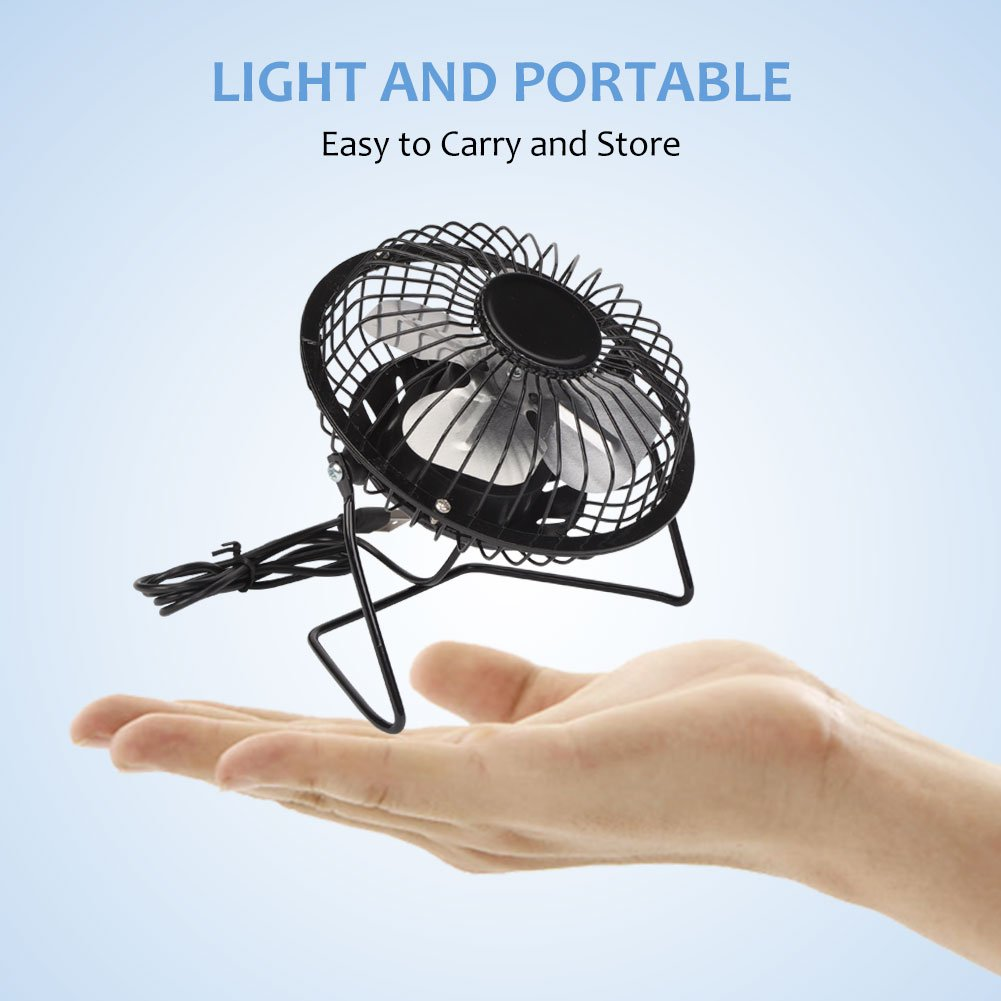 3W USB Solar Panel Powered Mini Portable Fan for Cooling Ventilation Outdoor Home Travelling Chicken House/Car Ventilation System 4 Inch