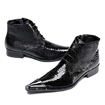 Mr.Zhangs Art Home Mens shoes Botines Negros Puntiagudos para Hombre Personalizados