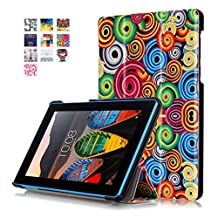 """Tablet for Samsung 7""""Lenovo Tab3 Case,Lenovo Tab3 7""""Protector,[Scratch Resistant][Slim Soft] Full Protection with Flip Cover & Stand Shell for 7 inch Lenovo Tab3 7 Back Case-Colorful rings"""
