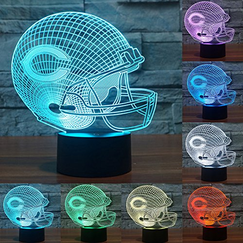 Football Cap Team Logo 3D Lamp Table NightLight 7 Color Change Football LED Desk Light Touch Multicolored USB Power As Home Decoration Lights Tractor for Boys Kids (Touch) (Chicago Bears)