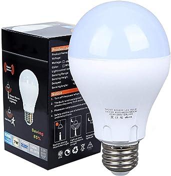 2 PCS Motion Sensor 7W LED Smart Bulbs 6500K Auto On//Off Dusk To Dawn