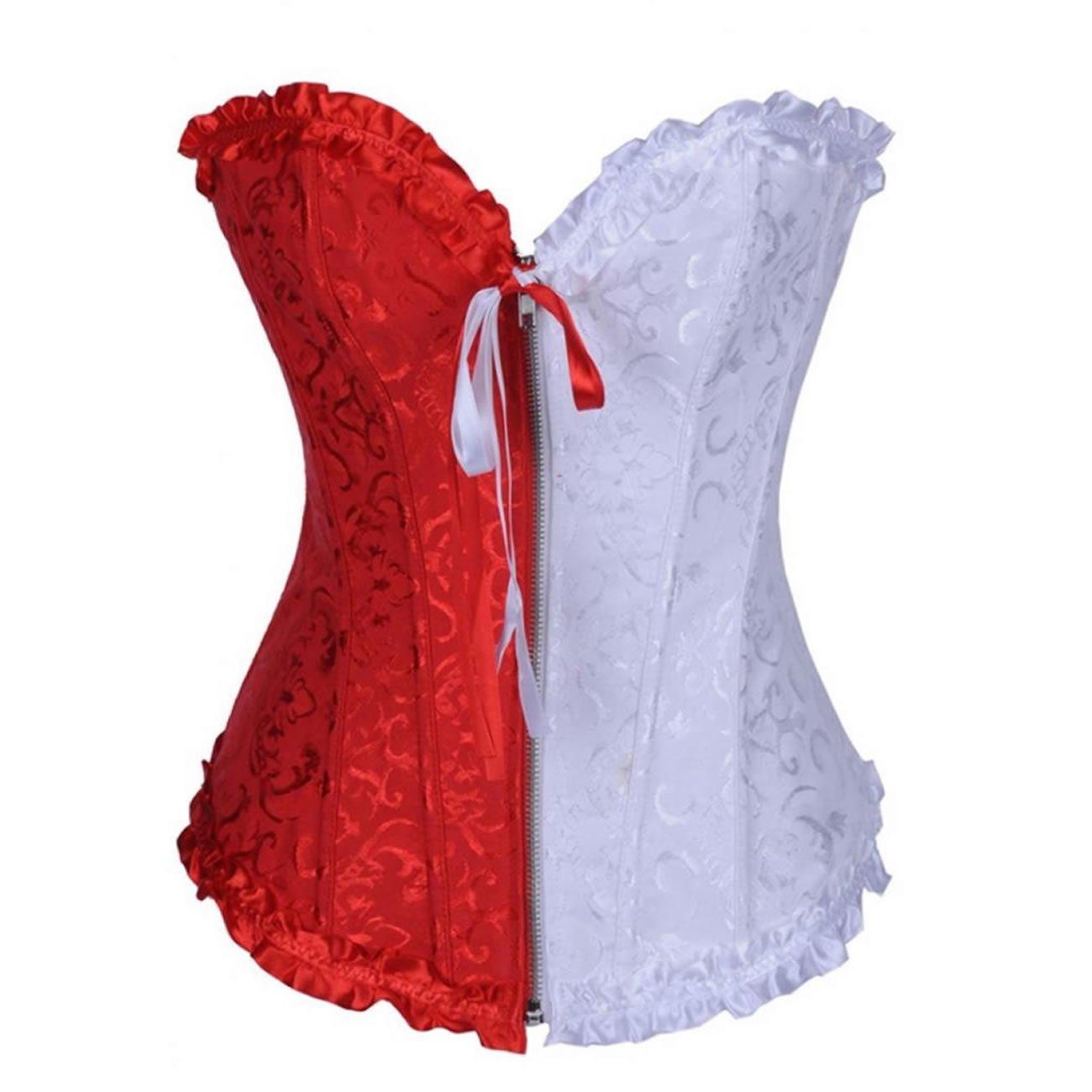 E-girl Tapestry Front Zipper Deman 2018 Klassisch Korsett Corsage mit G-String, Rot Weiß Rot Weiß