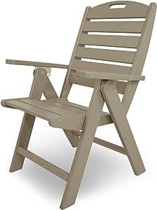 POLYWOOD NCH38SA Nautical Highback Chair, Sand