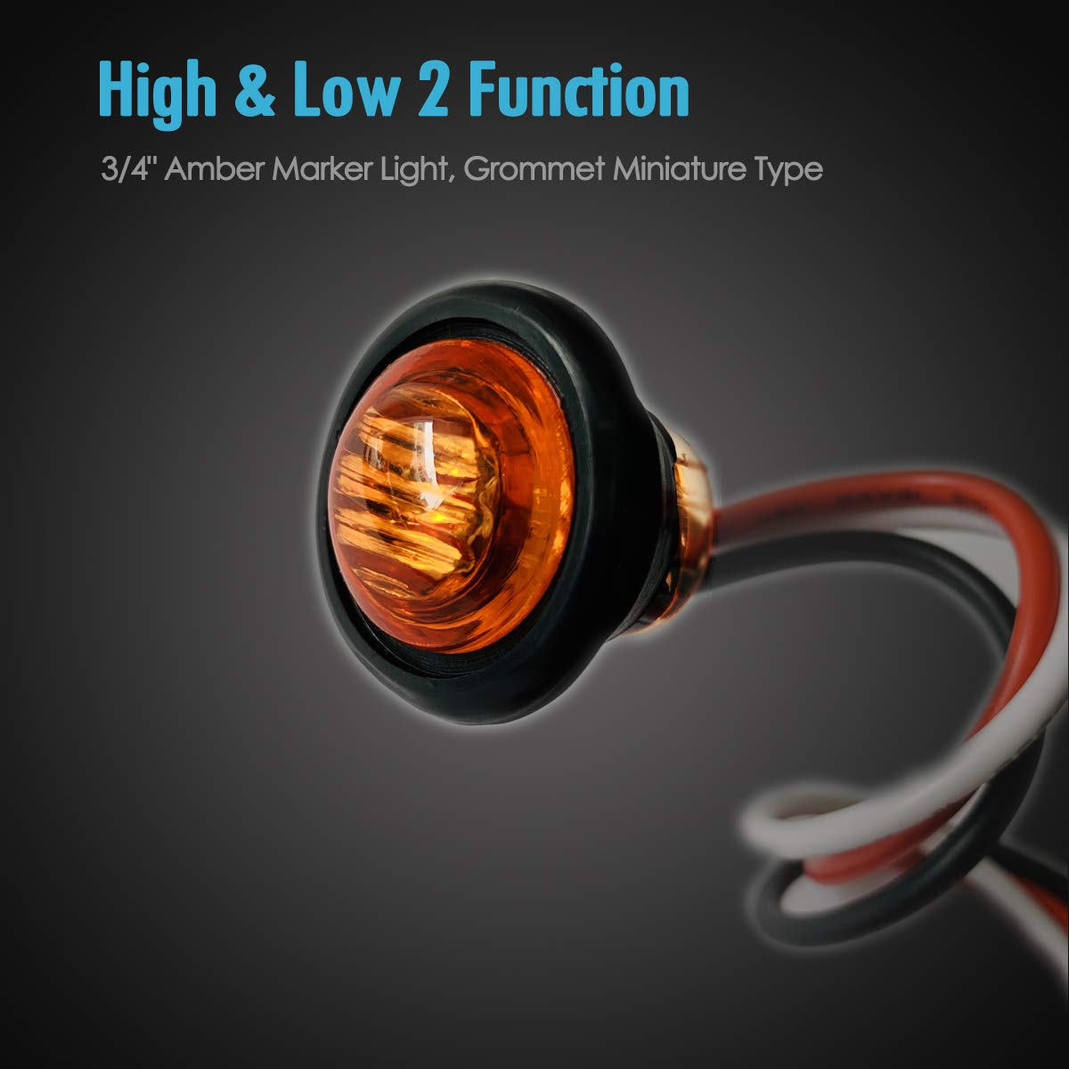 Pack of 2 TCTAuto 3//4 Amber Motorcycle Turn Signals LED Light Rubber Grommet Miniature Type with 3 Wire 2 Function High /& Low