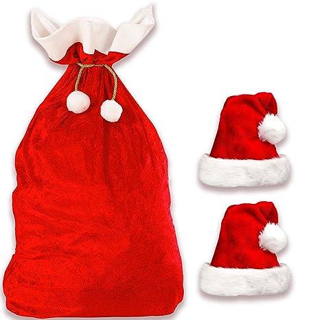 Sacco Babbo Natale Deluxe + 2 Cappelli di Babbo Natale  4bf8bdba8ac1