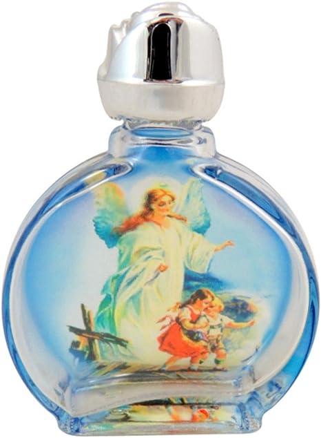 Religious Gifts Manchado Vidrio Guardian Angel con niños Santa Botella de Agua con Tapa de Rosebud, 0,5 oz: Amazon.es: Hogar