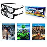 True Depth 3D Glasses and Movie Mega Action Pack! Everything you need for a 3D Movie Marathon on your DLP link 3D Projector!