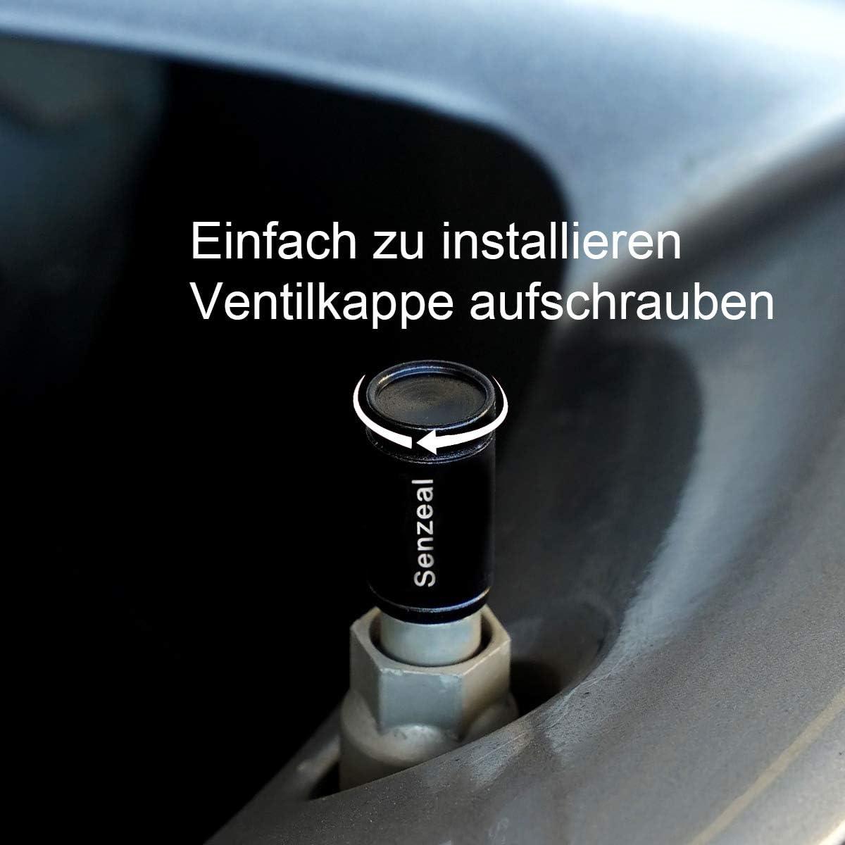 Senzeal 5 x Aluminiumlegierung Ventilkappen Auto Runder Reifen Rad Fahrrad Reifenventilkappen Motorrad Staubkappen Rot