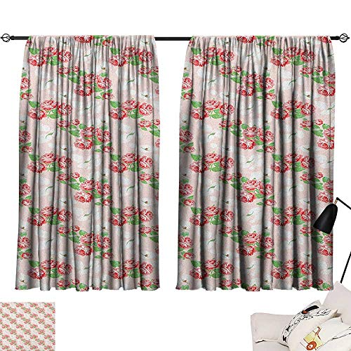 Warm Family Shabby Chic Insulated Sunshade Curtain Diagonal Rose Bouquets Pattern with Classical Pastel Color Fantasy Soulful Buds 70%-80% Light Shading, 2 Panels,72