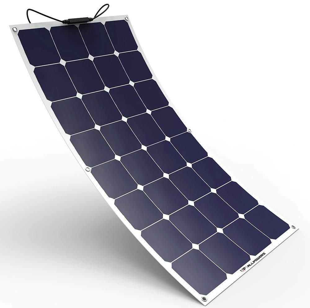 ALLPOWERS Solar Panel 100W 18V 12V Bendable Flexible Solar Charger SunPower Solar Module with MC4 for RV, Boat, Cabin, Tent, Car, Trailer, 12v Battery or Any Other Irregular Surface by ALLPOWERS