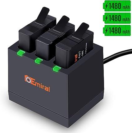 2 Pack Cargador de 3 canales para GoPro Hero 5 Hero 6//7 Nueva Batería de repuesto