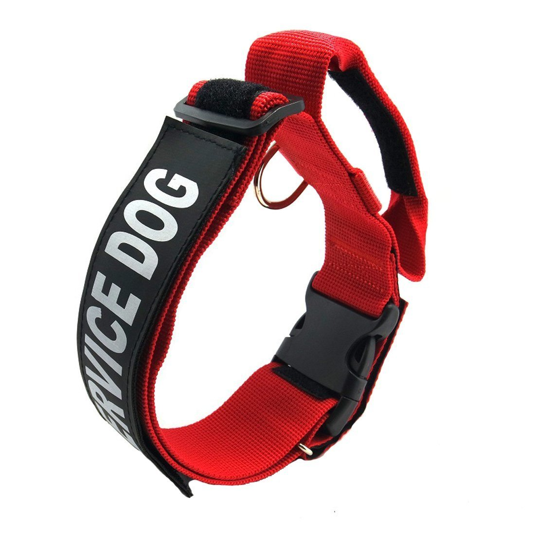 GrayCell K9 Service Dog Collar, Adjustable Nylon Dog Collar with Reflective''SERVICE DOG'' Velcro Patches for Small Medium Large Dogs (L, Red)